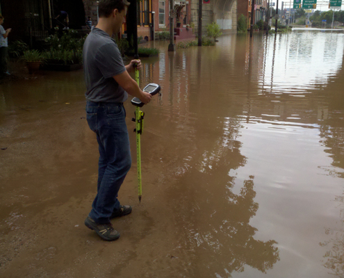 Surveyors collecting flood elevations after Tropical Storm Lee