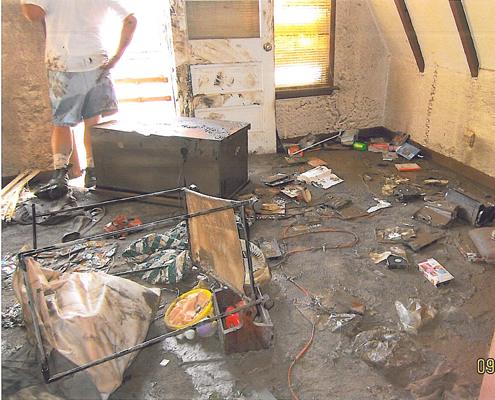 Interior of flooded home