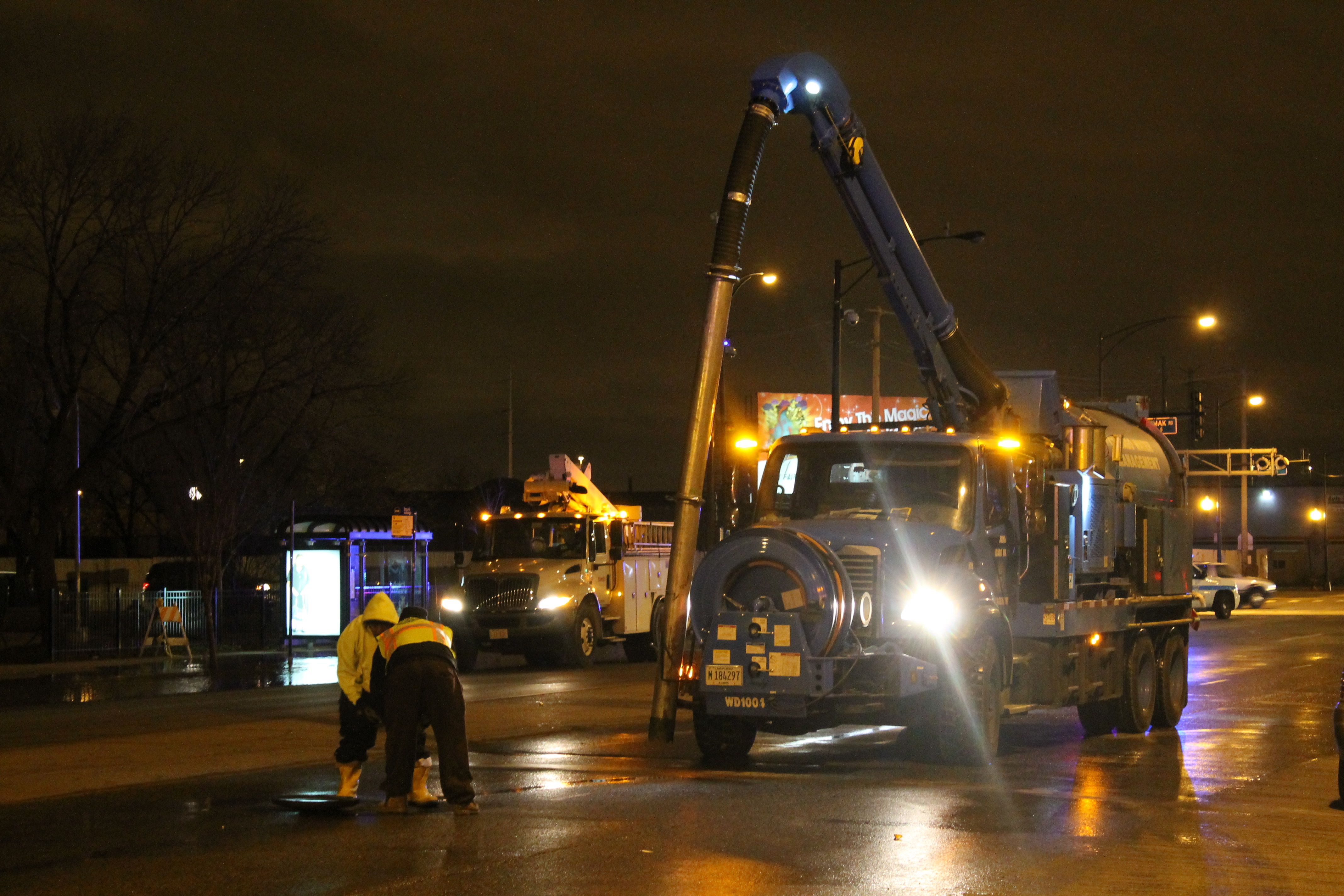 crews working overnight at a water main break